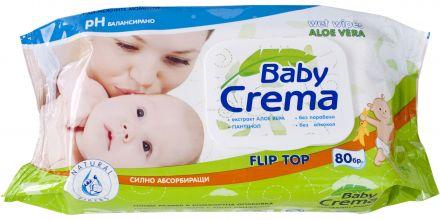 Baby Crema-Мокри кърпи Алое Вера-80бр.-капак