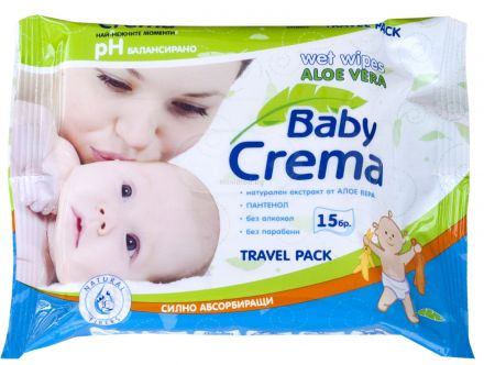 Baby Crema-Mокри кърпи Алое Вера-15бр,
