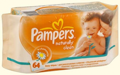 Pampers-Naturally Clean-Мокри кърпи с Лайка 64бр,