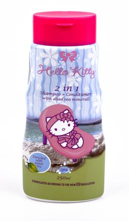 Hello Kitty-Детски ароматен 2в1 шампоан+балсам за коса със зелен чай-250ml