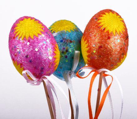 Великденски стик яйца 3бр.цветни