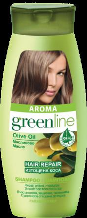 Aroma GreenLine шампоан за  изтощена коса  с маслиново масло 250ml