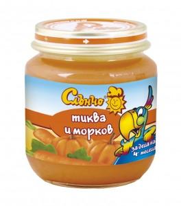 Слънчо-Бебешко пюре Тиква и морков 130гр. ,4+