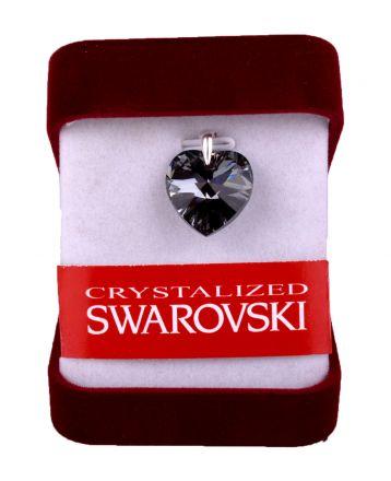 """Колие сърце""""Сребърна нощ""""кристал Сваровски 14мм,със сребърно захващане"""