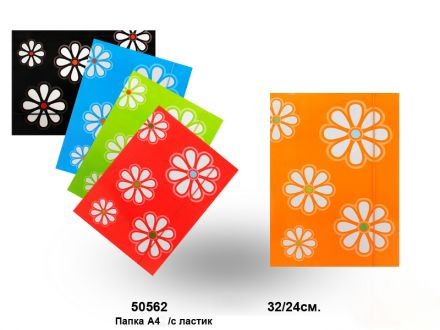 Папка с ластик на цветя  32/24см