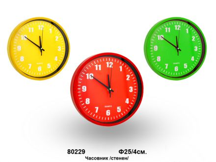 Часовник стенен кръгъл  -Ф25/4см