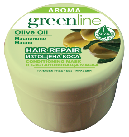 Aroma GreenLine маска за изтощена коса масло от маслина 240ml