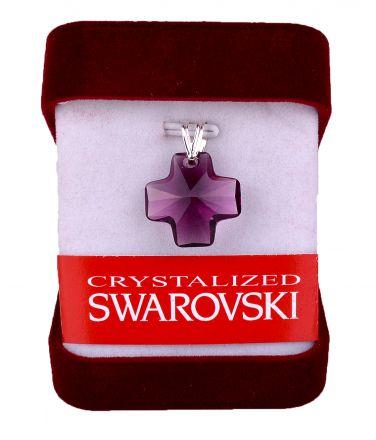 """Колие""""Кръст""""кристал Сваровски 20мм със сребърно захващане-лилаво"""
